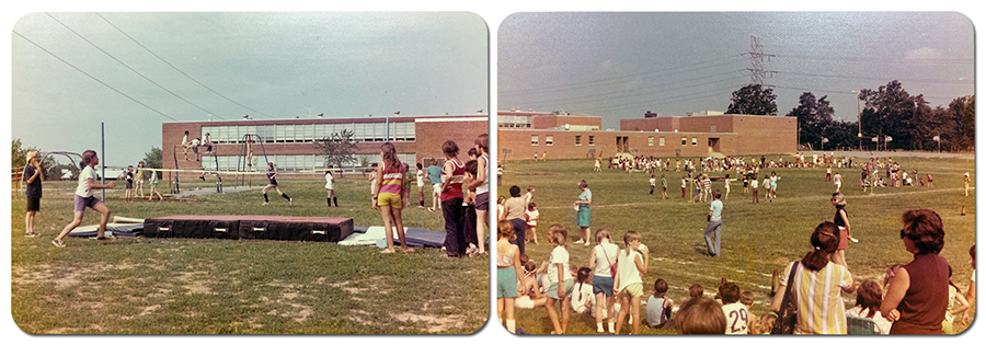 Two undated color photographs taken during the 1970s showing Field Day activities at Rose Hill Elementary School. Both photographs were taken outdoors and show the building in the distance. The children are playing on the playground and participating in athletic challenges of some sort.