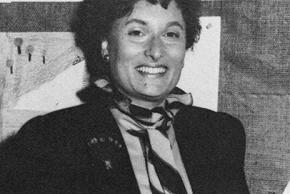 Black and white yearbook portrait of Principal Marcia Sweedler taken in 1983.